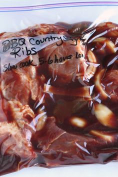 I really like this one-CG Boneless Country Style BBQ Ribs - Slow cooker Freezer Meal. This is so easy! Pour ingredients into your freezer safe bag and freeze. Then slowcook the day you want to eat it. Slow Cooker Freezer Meals, Crock Pot Freezer, Crock Pot Slow Cooker, Freezer Cooking, Crock Pot Cooking, Slow Cooker Recipes, Crockpot Recipes, Cooking Recipes, Pork Recipes