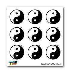 Yin and Yang Asian Chinese Symbol - Set of 9 - Window Bum...