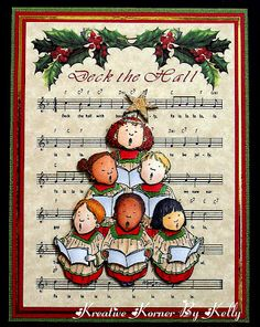 "Christmas card ... digital background music ""Deck the Hall"" ... luv Mo's Digital Pencil image with pyramid of ethnically diverse children carolers ... beautiful Copic coloring ..."