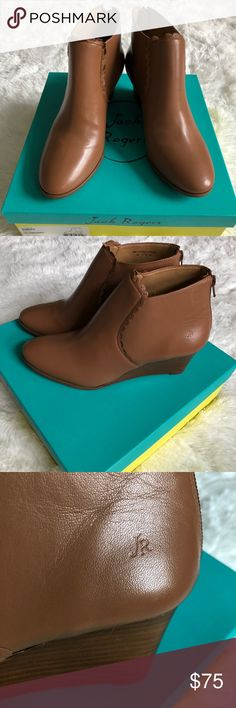 "Jack Rogers cognac wedge bootie Jack Rogers cognac Emery wedge bootie. Smooth leather with cute scalloped detail design. Back zipper entry with a 2"" high heel. Brand new in box. Jack Rogers Shoes Ankle Boots & Booties"