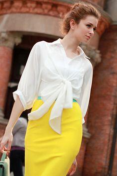 Long White Chiffon Shirt OASAP.com