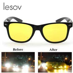 727338245a Lesov Men Night Vision Glasses Day Sunglasses Women Anti-glare HD Vision  Polarized Yellow Lens