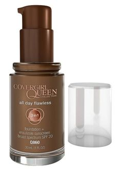 CoverGirl's Queen Collection is made specifically for darker skin tones. The All Day Flawless Foundation is recommended for oily skin and protects with SPF 20. Available in 14 shades. All Day Flawless Foundation, CoverGirl $9