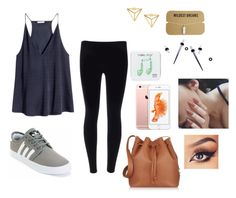 """bored"" by melamoooo ❤ liked on Polyvore featuring H&M, Sophie Hulme and Happy Plugs"