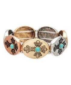 Turquoise & Tri-Tone Cross Stretch Bracelet #zulily #zulilyfinds