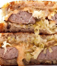 A delicious kielbasa Reuben sandwich recipe.