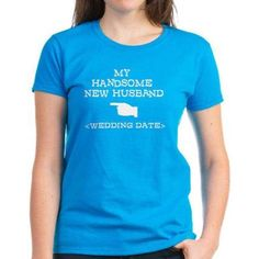 Cafepress Personalized New Husband (Wedding Date) Women's Dark T-Shirt, Size: Large, Blue