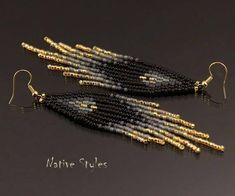 Handmade Native American Style Seed Bead Earrings * R E A D Y to S H I P * ♥ ABOUT ~ I used quality JAPANESE Glass Seed Beads * matte black,black,charcoal,shades of gray,gold ~ extra strong braided beading thread! ~ 18K gold plated ear hooks ~ light weight (4g each) ~ I handcrafted