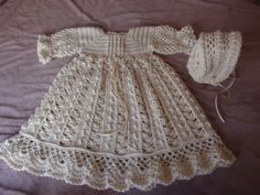 Crochet Baby Dress and Bonnet Antique inspired Christening Gown Cherished Heirloom Crochet by Gina