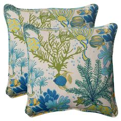 Outdoor 2-Piece Square Toss Pillow Set - Green/Blue Ocean Scene