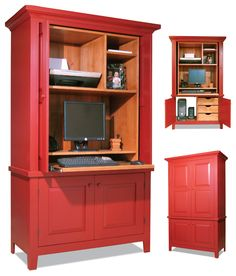 """Computer Armoire Build an updated American classic from bargain-priced plywood and poplar. By Jeff Corns My wife and I enjoy antique country furniture. It's usually a bargain, but we've been unable to find a piece that would hold all of our computer gear. I'm a professional cabinetmaker, so naturally my wife said, """"Honey, can't you make one?"""" Back in the day, practical-minded country cabinetmakers often used a variety of plain …"""