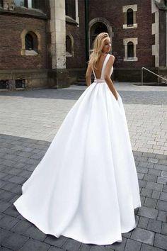On Sale Princess Simple A-line Satin Ivory Wedding Dresses-pgmdress