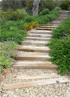 Yes, please, with nice railings! Steps Country Landscape Design Landscaping Network Calimesa, CA Hillside Garden, Hillside Landscaping, Sloped Garden, Country Landscaping, Outdoor Landscaping, Garden Paths, Outdoor Gardens, Landscaping Ideas, Shade Landscaping