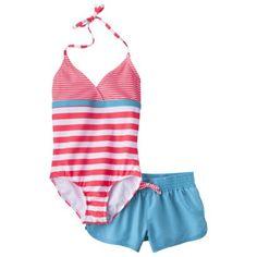 Xhilaration® Girls' Stripe 1-Piece Swimsuit and Short Set