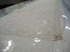 Once out of the wash bath, the wet lace alb was pinned to a soft board to allow it to dry straight and flat. As the textile is fine and lightweight, it dried relatively quickly with the use of fans. Conservation, Objects, Textiles, Paper, Fans, Museum, Board, Followers, Conservation Movement