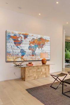 Parvez Taj World Dreams Leinwand Wandkunst - Holz Map Wall Art, Map Art, Wood Wall Art, Canvas Wall Art, My New Room, White Wood, Painting Prints, Art Print, Sweet Home