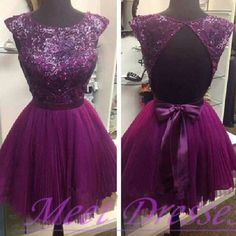 2015 purple chiffon backless short prom dress for teens with cap sleeves open backs homecoming dresses