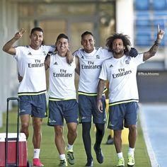 """Real Madrid C.F. on Instagram: """"⚽️ Good times and hard work in this morning's training session! @cristiano  @jamesrodriguez10  @keylornavas1  @marcelotwelve  - ⚽️ ¡Buenas sensaciones en el entrenamiento de la mañana! #HalaMadrid #RealMadrid"""""""