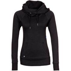 Women Hooded Drawstring Pocket Sweatshirt ($15) ❤ liked on Polyvore featuring tops, hoodies, sweatshirts, black, sweatshirt hoodies, hooded sweat shirt, hooded sweatshirt, black hoodies and pullover sweatshirts