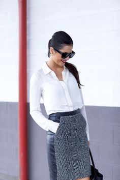 love this leather trim trend and on this tweed pencil skirt, it looks absolutely wonderful!