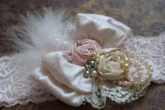 Light Pink and Ivory Headband, Baby Girl Hair Accessory, Flower Girl Hairpiece, Girls Hair Accessory