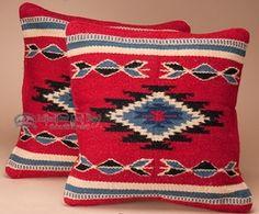 Pair Western Wool Pillow Covers 18x18 -Navajo Pattern