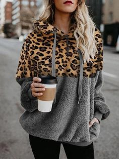 Women Leopard Faux Fur Zipper Up Pocket Casual Hoodie - Army Green, S Hooded Sweatshirts, Hoodies, Leopard Sweater, Tie Dye Long Sleeve, Leopard Print Top, Casual Tops, Pullover, Zip Ups, Sleeves