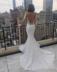 mermaid wedding dresses with illusion long sleeves v back lace train pnina tornai Luxury Wedding Dress, White Wedding Dresses, Wedding Gowns, Dream Wedding, Wedding Bride, Pnina Tornai, Unusual Dresses, Stunning Dresses, Bridal Looks