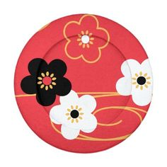 Japanese Red Sakura Cherry Blossom Flowers Pack Of Small Button Covers Vector illustration of stylized black, red, and white sakura cherry blossom flowers and golden swirls on red background. Inspired by traditional kimono fabric patterns of Japan. Se...