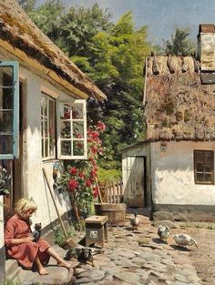 Huge Oil painting Peder Mørk Mønsted - Yard with Ducks little girl & dog canvas Painting Lessons, Painting & Drawing, Artist Painting, Art Watercolor, Girl And Dog, Beautiful Paintings, Art Oil, Oeuvre D'art, Landscape Paintings
