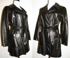 1970s 70s Black Leather Jacket / Soft Chic Car Coat Wrap with