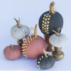 PUNK ROCK PUMPKINS!  Using chalk paint and gold accents transforms these little pumpkins into gems!