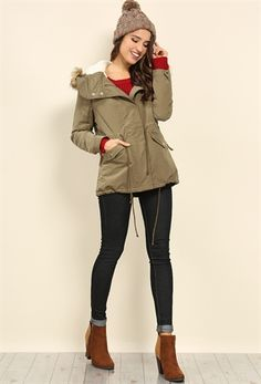Furry Hood Parka Jacket