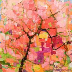 Hand-painted Abstract Oil Painting - Cherry Tree