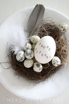 Use alphabet stamps to decorate easter eggs for an understated, grown-up approach.