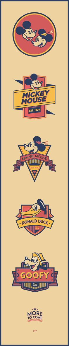Personal project, branding Disney characters with their own vintage style logo. Enjoy and share!