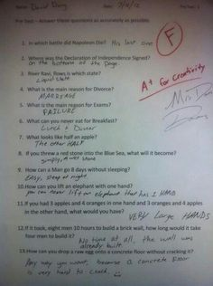 Humor Discover Funny Test Answers from Smart Ass Kids: Borderline Genius - Humor Funny Test Answers Funny School Answers Kids Test Answers Riddles With Answers Clever Yahoo Answers Funny Laughing So Hard Kids Laughing Just For Laughs Funny Texts Funny Test Answers, Riddles With Answers Clever, Kids Test Answers, Funny School Answers, Be My Hero, All Meme, School Humor, School Stuff, Funny School Jokes