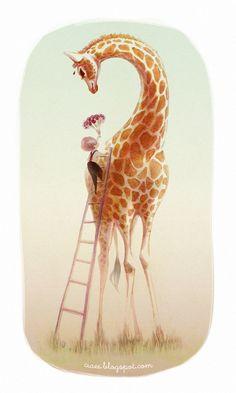 One of my favorite animals is the giraffe. Tools: Markers and Photoshop. Flowers for Miss Giraffe Art Et Illustration, Illustrations, Animals Beautiful, Cute Animals, Giraffe Pictures, Giraffe Images, Giraffe Art, Giraffe Painting, Tier Fotos