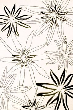 Floral Sketch (Black-White) - Rug Collections - Designer Rugs - Premium Handmade rugs by Australia's leading rug company