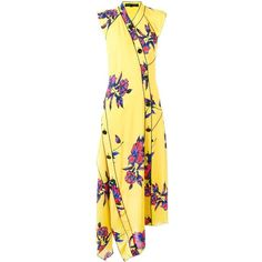 Proenza Schouler asymmetric floral maxi dress ($2,360) ❤ liked on Polyvore featuring dresses, asymmetrical dresses, yellow floral dress, button front maxi dress, yellow dress and silk dress