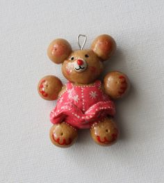Salt Dough Christmas Ornament Teddy Bear Girl Handmade Original Keepsake Memories