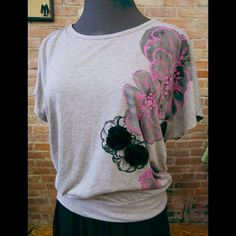 Tempted Gray Flower Top Pretty gray short sleeve blousy tee with black/pink/gray printed flowers and black flower appliques. Tempted Tops