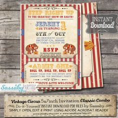 Vintage Circus Invitation - INSTANT DOWNLOAD - Editable & Printable Carnival, Elephant, Big Top, Birthday Party Invite by Sassaby Parties