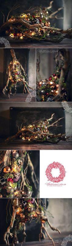 Composizione di Natale nella galleria boutique Mon Plaisir, DEKAPT, Ermenegildo Zegna: