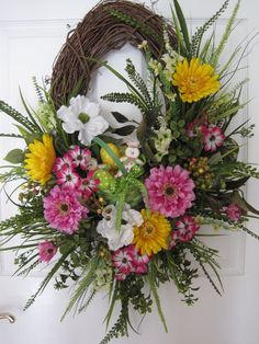 EASTER COOKIES Basket Pastel Eggs Spring Flowers Long Oval Wreath Free Shipping #Handmade