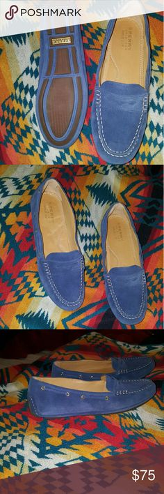 NEW SPERRY LOAFERS 9 LIGHT BLUE SUEDE PENNY SPERRY TOP SIDER 9 GOLD CUP GENUINE LEATHER COMFORTABLE Sperry Shoes Moccasins