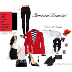 """t is important for those of us with a flat bottom to where jeans with a tight taper. The tighter the tapper on the pants the bigger the lift to to butt causing it to appear bigger. Add things to your closet that you can make your lower half appear bigger and your upper half smaller.  """"Inverted Triangle Body Beauty's """"Style That Flatter"""""""" by angela-yourpersonality on Polyvore"""
