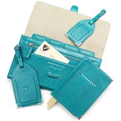 Classic Plain Travel Collection in Turquoise Lizard & Cream Suede - Aspinal of London - Luxury English Lifestyle