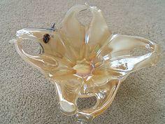 Murano Venetian Glassware Modern Italian Art Glass Gold Bowl Hand Blown  $39.99/Free Shipping