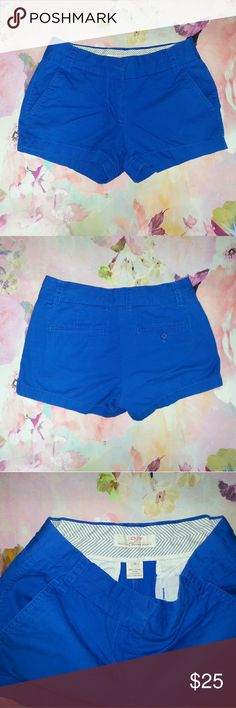 "J. Crew Blue 100% Cotton Chino Shorts Excellent gently loved condition.  No holes, tears, stains or other flaws in the material. Measurements Waist (flat) 14.5"" Rise 8.5"" Inseam 2.5"" J. Crew Shorts"